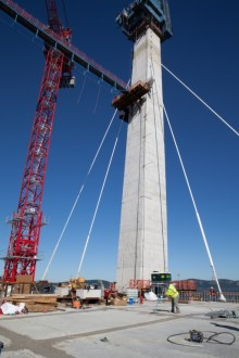 September 2, 2016 - Stay cables help support the new main span road deck.
