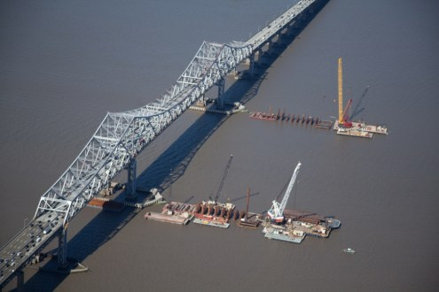 May 2014 - Aerial View of Main Span Pile Installation from Westchester