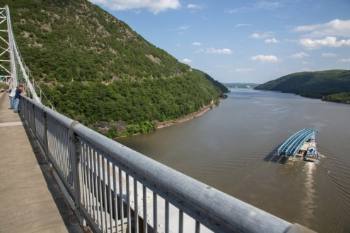 June 10, 2015 - The project's first steel girder assembly as seen from the Bear Mountain Bridge in Stony Point, NY.