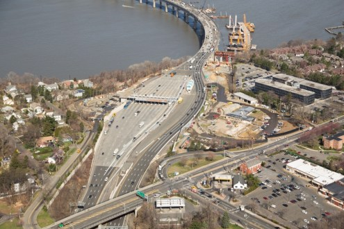 April 2015 - Aerial view of the Tappan Zee toll plaza in Tarrytown, NY.