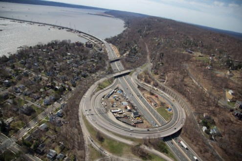 April 2015 - Aerial view of the New York State Thruway (I-87/I-287) and interchange 10 in South Nyack.