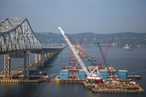 September 2, 2015 - Construction begins on the new bridge's 419-foot towers atop the main span foundations.