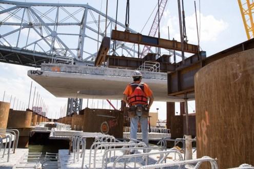 Pier 31 Precast pile cap installation