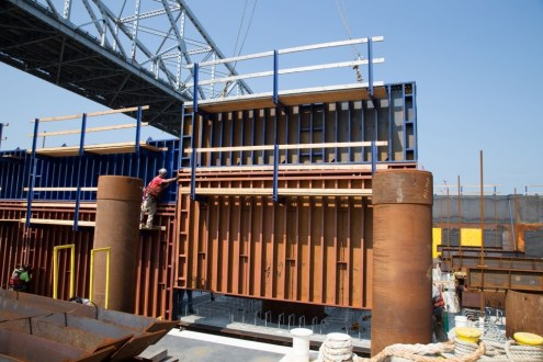 July 2014 - Pier 31 Formwork for the pile cap being assembled