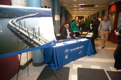 March 2014 - A display board with a digital illustration of the new bridge at the Rockland 2014 Annual Public Meeting