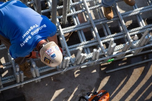 August 27, 2014 - Installing rebar inside one of the project's pile caps.