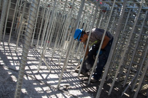 September 17, 2014 - Installing rebar in the pier 39 pile cap.