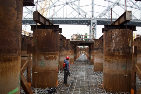 November 11, 2014 - One of the main span pile caps with its first layer of rebar installed.