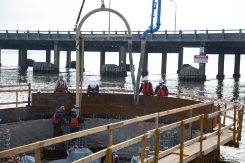 November 11, 2014 - Placing concrete in the pier 8 pile cap.