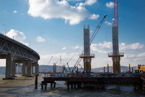 November 20, 2014 - of the pier 39 columns, the first columns of the New NY Bridge.