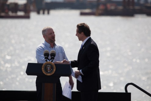 May 14, 2014 - Chris Horton, Operating Engineer for Tappan Zee Constructors, LLC shaking hands with Governor Cuomo.