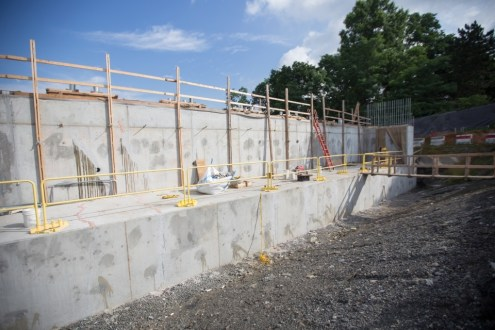 July 14, 2015 - Composed of steel-reinforced concrete, the Westchester abutment will support the new bridge's landing.