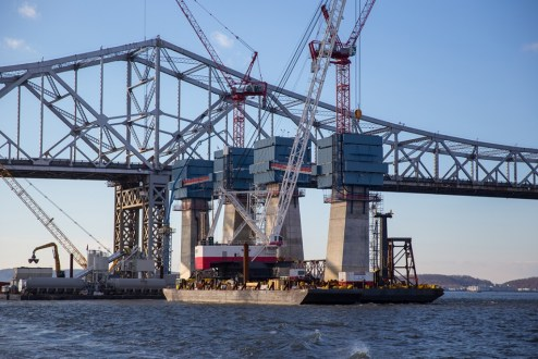 December 3, 2015 - The main span towers approach the height of the future roadway.