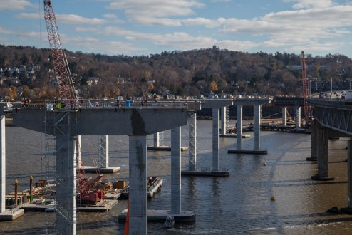 December 4, 2015 - Piers for the Westchester approach near completion.