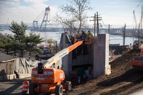 December 7, 2015 - Crew members prepare additional foundations near the Rockland landing.