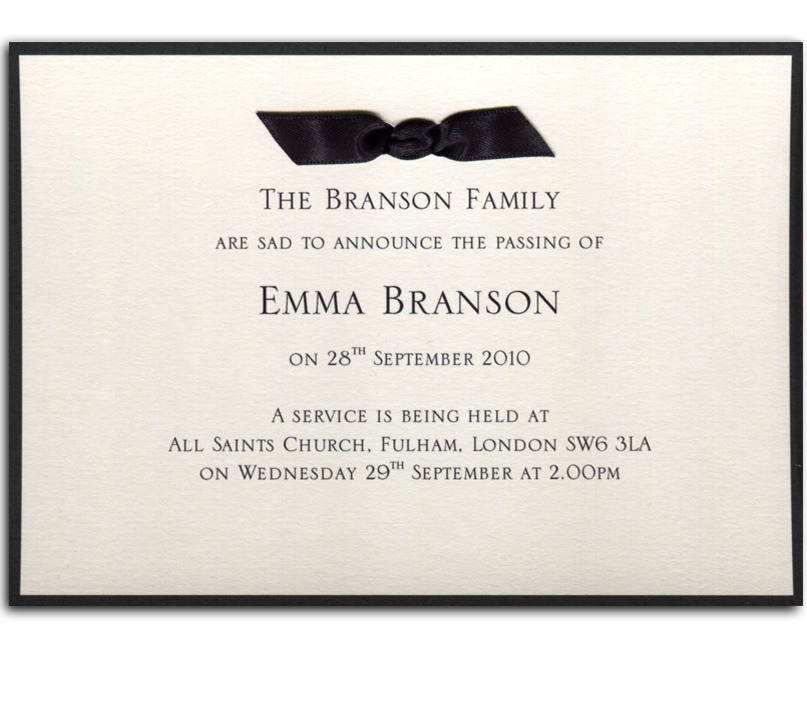 Private Memorial or Funeral Archives - Newport Manners - invitation for funeral