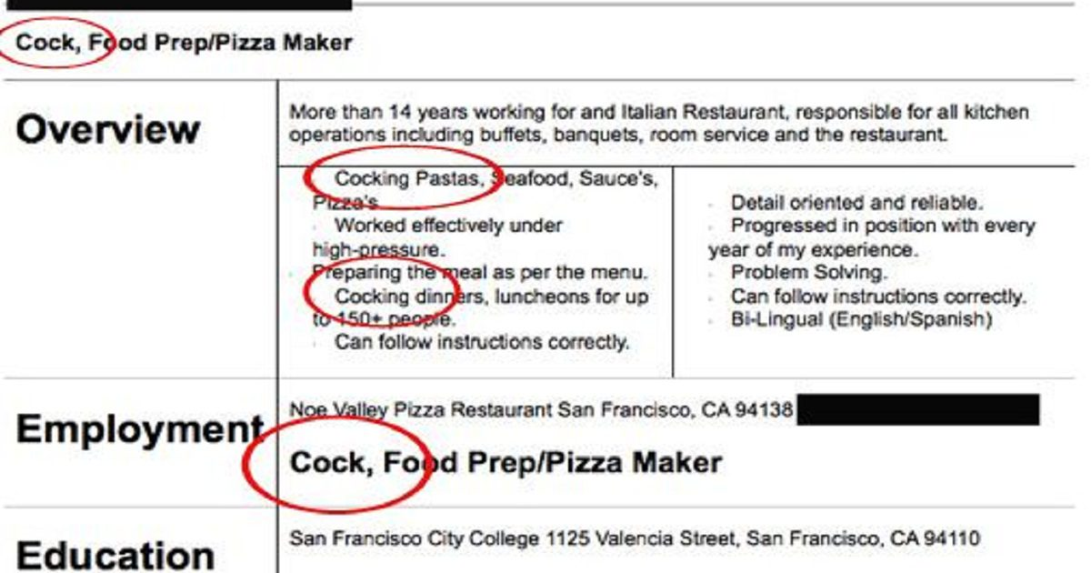 20 Hilarious Resume Fails I\u0027m Guessing They Did NOT Get the Job