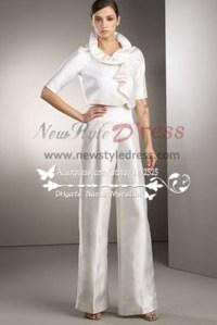 White Taffeta bridal pantsuit dresses for spring wedding ...