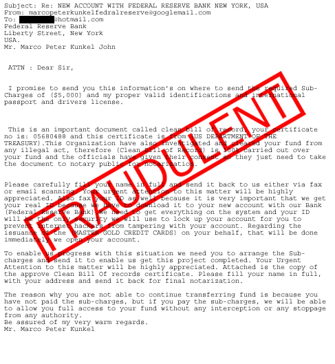 Scams Involving the Federal Reserve Name - FEDERAL RESERVE BANK of