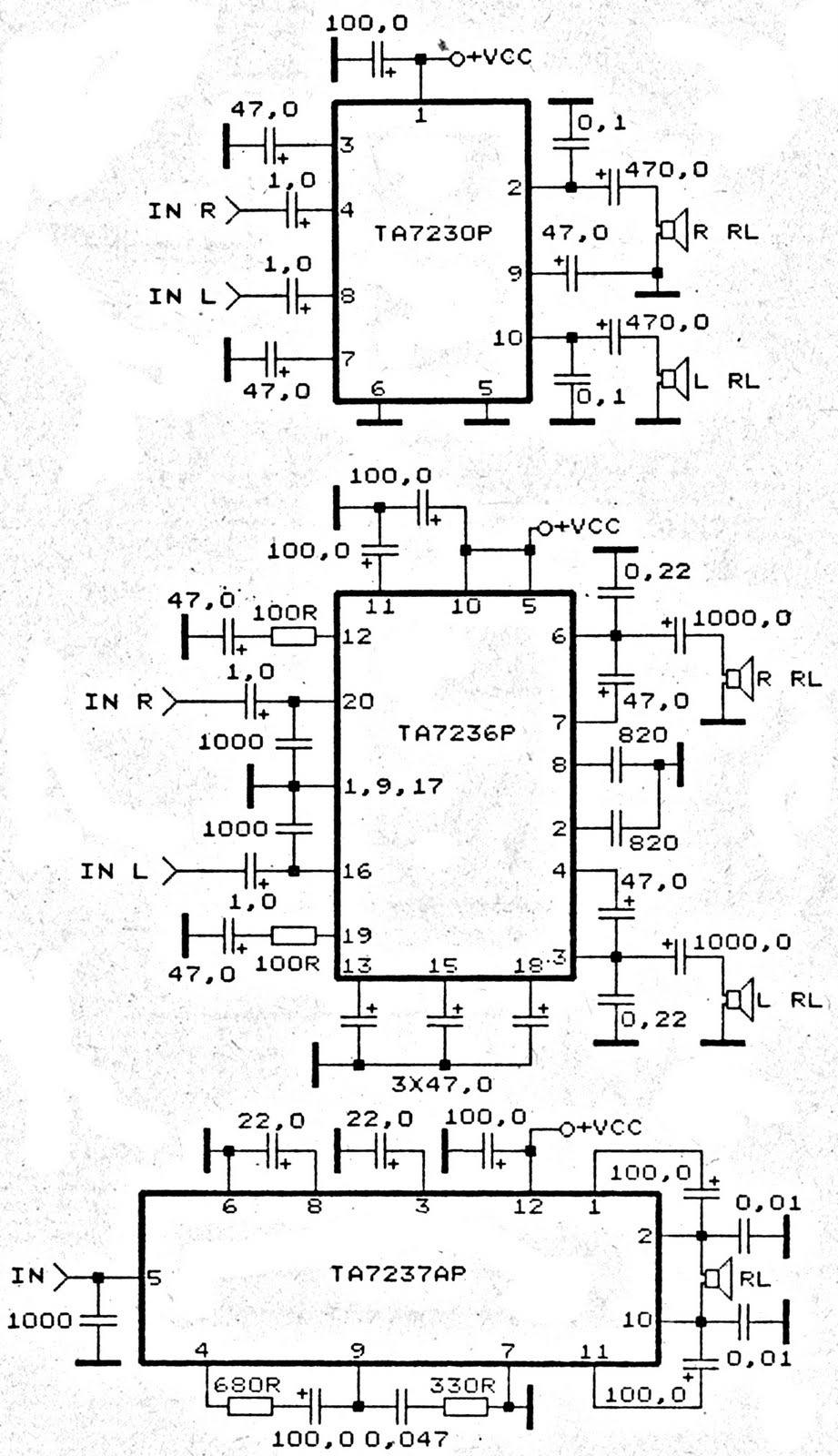 ta7230p ta7236p ta7237ap amplifier schematic