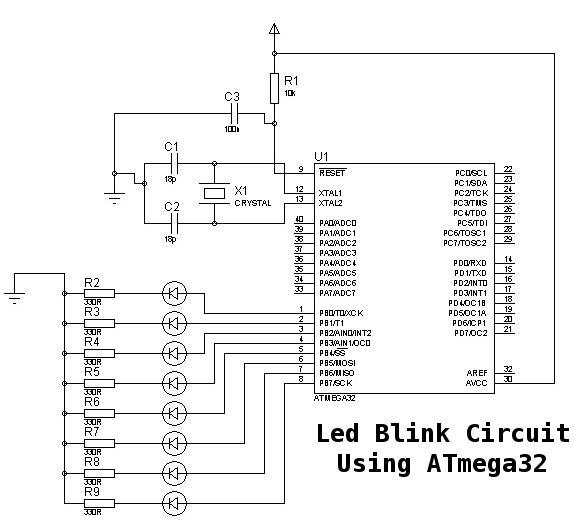 schematic diagram for atmega32 led blink circuit