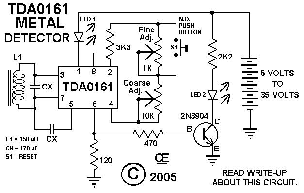 metal detector schematic circuit using cs209a