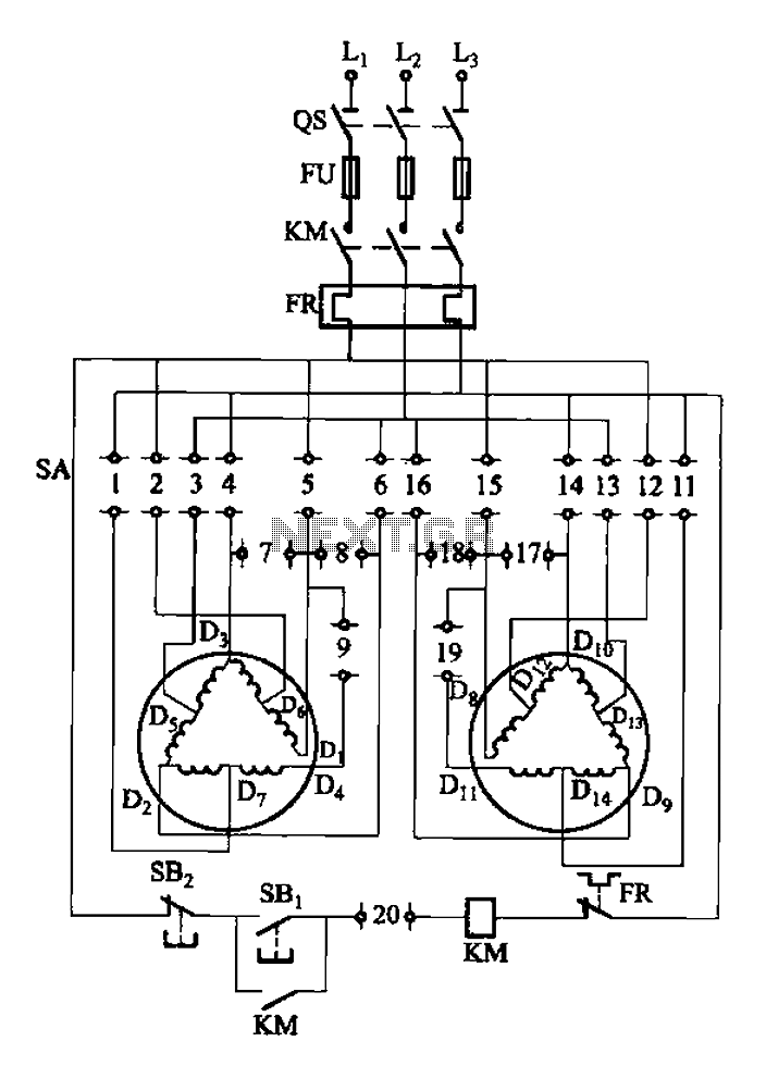 figure 1a wiring diagram of three phase motor