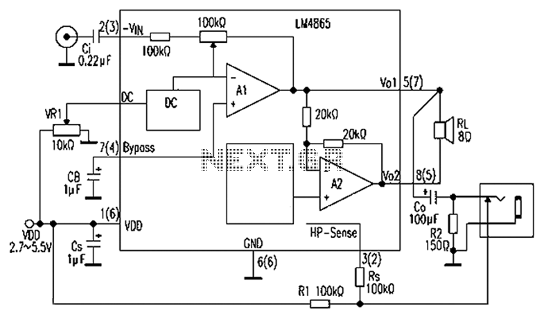 audio amplifier with dc volume control circuit schematic