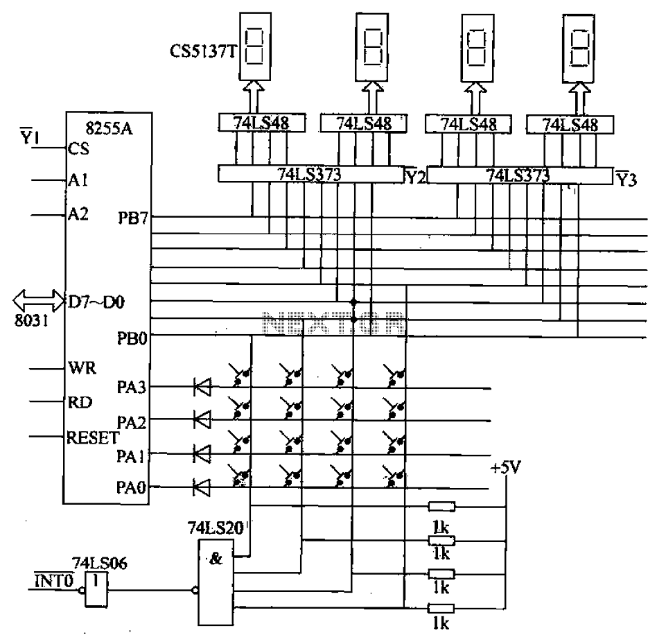 schematic for the parallel port driver for the matrix as