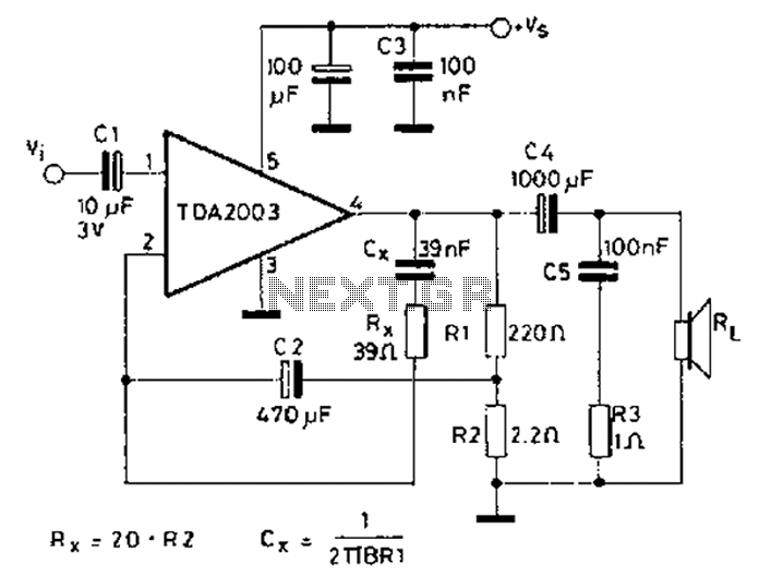 car stereo amplifier using tda2003