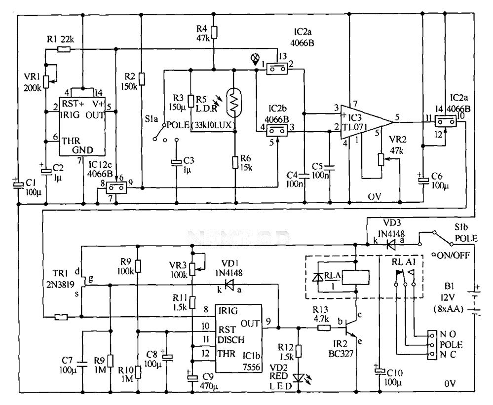 the light sensitive high power fire alarm circuit lm1801 control