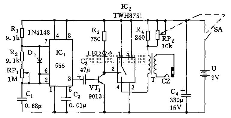 simple 555 amplifier circuit diagram