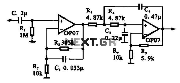 bandpass filter is a circuit diagram of a single channel described in