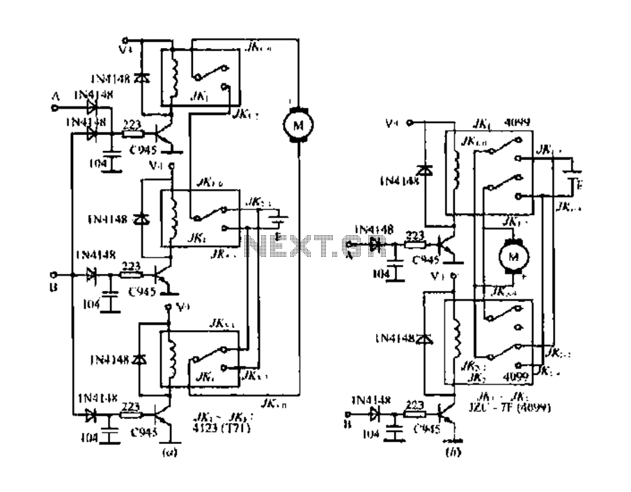 dc motor reverse brake circuit is shown braking press the stop