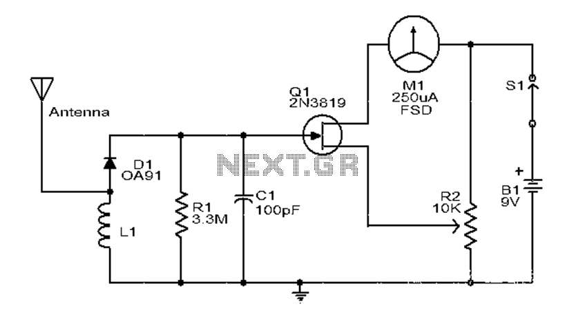 electric field strength meter circuit electronic circuits