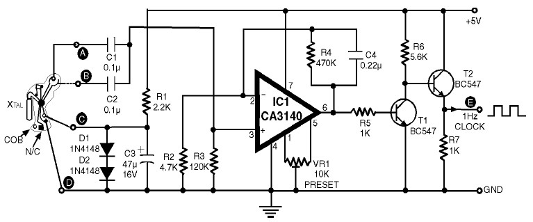 1hz clock generator with chip on board cob