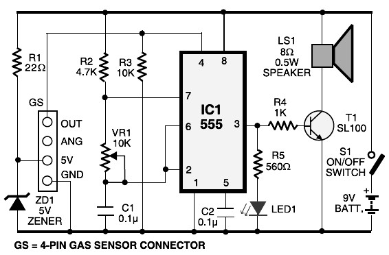 lpg gas detector circuit diagram
