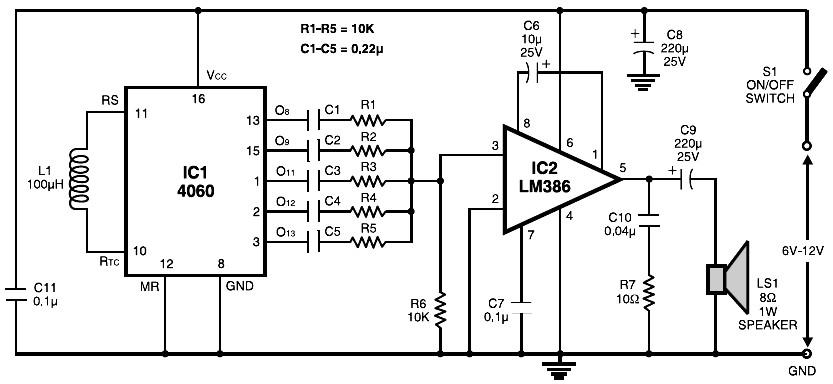electronic siren based ne555 circuit diagram