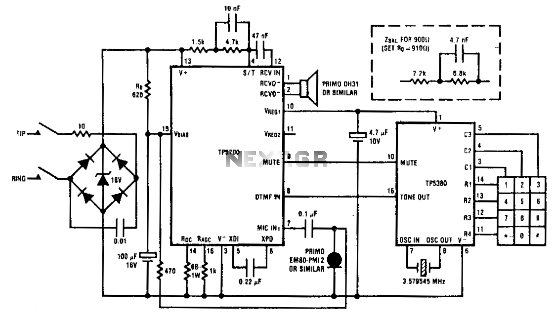 simple telephone recorder circuit schematic diagram
