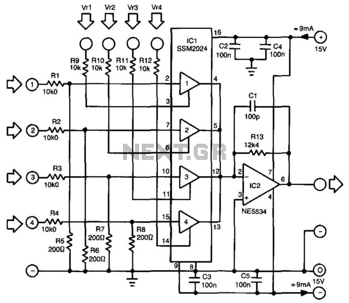 ssm2024 audio mixer circuit diagram