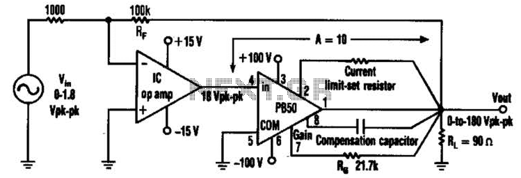 amplifier plus an ic op amp can be used in a high voltage op amp