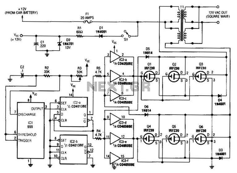 250w inverter circuit based mosfet