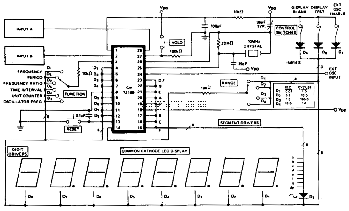 10h2 to 2mh2 frequency counter circuit