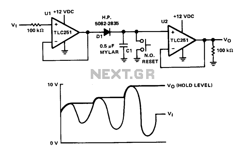 peak value hold circuit diagram composed of ca3130 controlcircuit