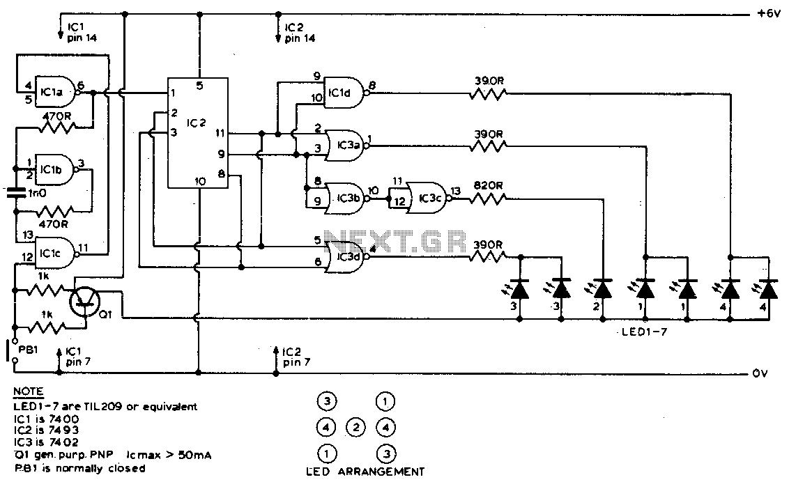 electronic dice circuit wiring diagrams