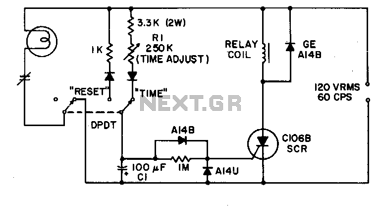 connecting the time delay circuit to a relay