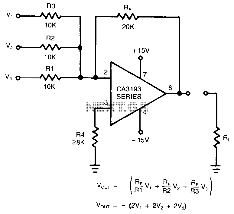 summing amplifier with op amp