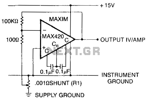 current shunt amplifier circuit using max420