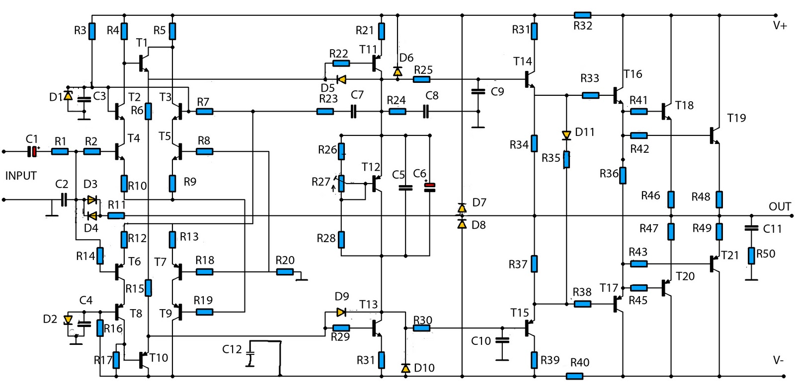 5000w power amp circuit diagram