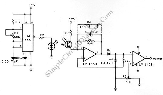 infrared transmitter and receiver circuit shown in the schematic